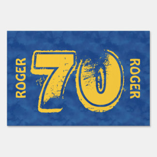 70th Birthday Blue Gold For Him Grunge Text A01G Yard Signs