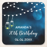 "70th birthday blue moon light strings mason jars square paper coaster<br><div class=""desc"">A dark night with blue and dark cluds,  with a romantic full moon behind the clouds. White light strings and rustic painted mason jars with candle lights inside. White letters and the text: 70th Birthday.  Templates for name and date,  white letters.</div>"
