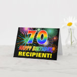 [ Thumbnail: 70th Birthday: Bold, Fun, Fireworks, Rainbow 70 Card ]