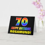 [ Thumbnail: 70th Birthday: Bold, Fun, Simple, Rainbow 70 Card ]