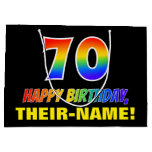 [ Thumbnail: 70th Birthday: Bold, Fun, Simple, Rainbow 70 Gift Bag ]