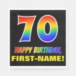[ Thumbnail: 70th Birthday: Bold, Fun, Simple, Rainbow 70 Napkins ]