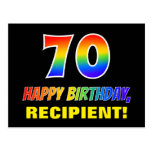[ Thumbnail: 70th Birthday: Bold, Fun, Simple, Rainbow 70 Postcard ]