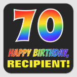 [ Thumbnail: 70th Birthday: Bold, Fun, Simple, Rainbow 70 Sticker ]