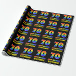 [ Thumbnail: 70th Birthday: Bold, Fun, Simple, Rainbow 70 Wrapping Paper ]
