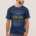 "70th Birthday Born 1950 Standards Add Your Name T-Shirt<br><div class=""desc"">Easily customize all the text on this ""Birthday"" T shirt using the template provided. Part of the ""Setting Standards"" range of birthday ideas.</div>"
