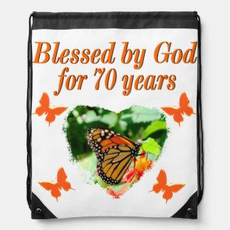 70TH BIRTHDAY BUTTERFLY PHOTO DESIGN DRAWSTRING BAG