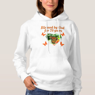 70TH BIRTHDAY BUTTERFLY PHOTO DESIGN HOODIE
