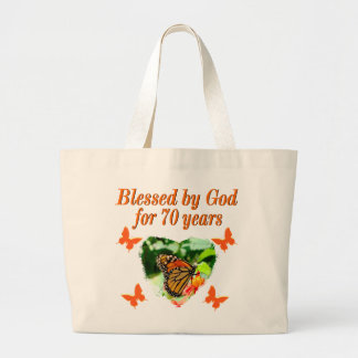 70TH BIRTHDAY BUTTERFLY PHOTO DESIGN LARGE TOTE BAG