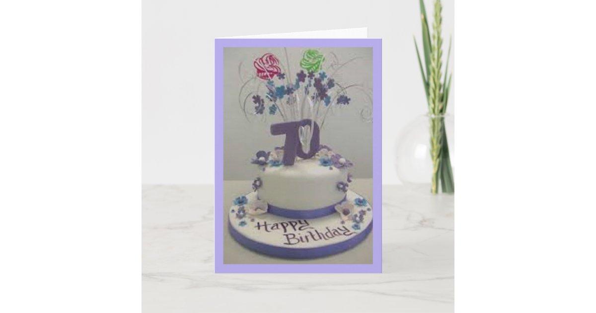 Prime 70Th Birthday Cake Card Zazzle Com Funny Birthday Cards Online Amentibdeldamsfinfo