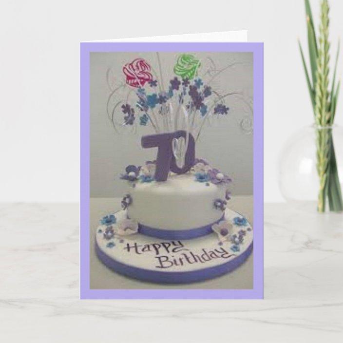 Amazing 70Th Birthday Cake Card Zazzle Com Funny Birthday Cards Online Fluifree Goldxyz
