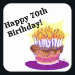 "70th Birthday Cake Square Sticker<br><div class=""desc"">happy 70th Birthday!</div>"