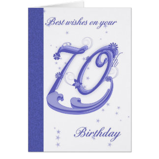 70th Birthday Card, best wishes Card