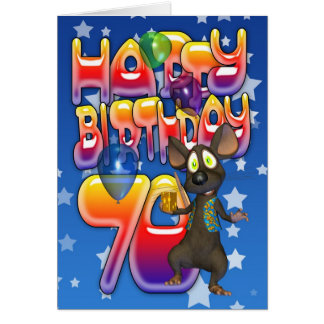 70th Birthday Card cute with little mouse