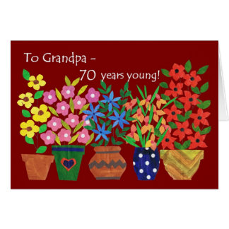 70th Birthday Card for a Grandfather, Flower Power