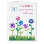70th Birthday Card for a Grandmother - Flowers