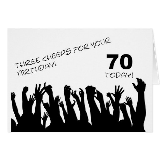 70th Birthday card with cheering waving crowds.