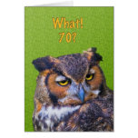 70th Birthday Card with Great Horned Owl