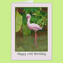 70th Birthday Card with Pink Flamingo