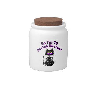 70th Birthday Cat Gifts Candy Jars