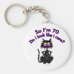 70th Birthday Cat Gifts Key Chains