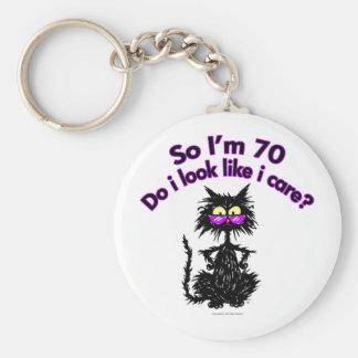 70th Birthday Cat Gifts Keychain