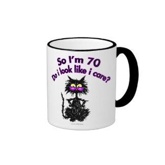 70th Birthday Cat Gifts Ringer Coffee Mug
