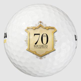 70th Birthday Celebration Vintage Frame Golf Ball