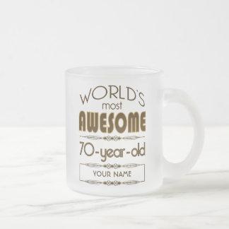 70th Birthday Celebration World Best Fabulous 10 Oz Frosted Glass Coffee Mug