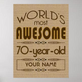 70th Birthday Celebration World Best Fabulous Poster