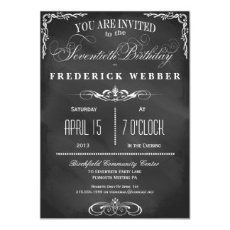 70th Birthday Chalkboard Typography Party Invite