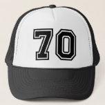"70th Birthday Classic Trucker Hat<br><div class=""desc"">Custom 70th Birthday Hat with classic Black Number Seventy</div>"