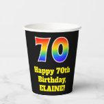 [ Thumbnail: 70th Birthday: Colorful, Fun, Exciting, Rainbow 70 ]