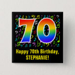 [ Thumbnail: 70th Birthday: Colorful Music Symbols, Rainbow 70 Button ]