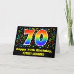 [ Thumbnail: 70th Birthday: Colorful Music Symbols & Rainbow 70 Card ]