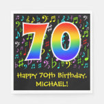 [ Thumbnail: 70th Birthday - Colorful Music Symbols, Rainbow 70 Napkins ]