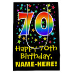 [ Thumbnail: 70th Birthday: Colorful Stars Pattern & Rainbow 70 Gift Bag ]
