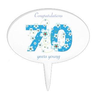 70th birthday congratulations blue flowers custom oval cake picks