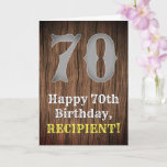 [ Thumbnail: 70th Birthday: Country Western Inspired Look, Name Card ]