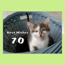 70th Birthday Crazy Kitten Card