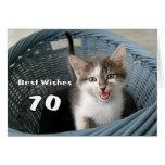 70th Birthday Crazy Kitten Greeting Card