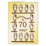 70th birthday, Curious owls card. Greeting Card