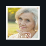 "70th birthday custom photo hello 70 napkin<br><div class=""desc"">Template for Your photo.  White text overlay: Hello 70!  A napkin for a 70th birthday party.</div>"
