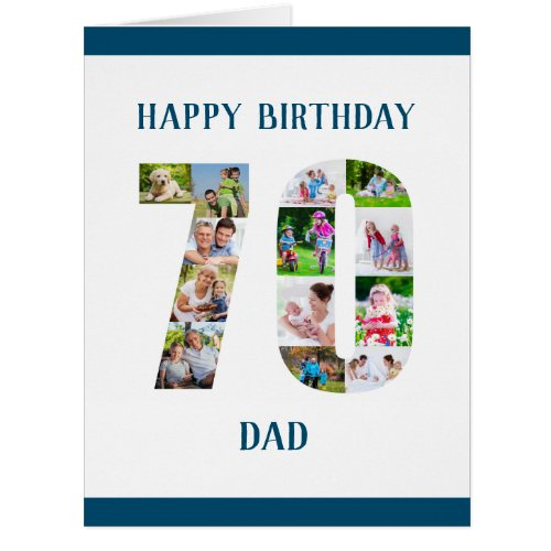 70th Birthday Dad Number 70 Photo Collage Big