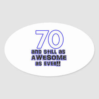 70th birthday design oval sticker