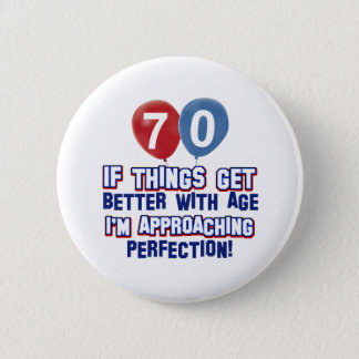 70th birthday designs button