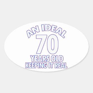 70th birthday designs oval sticker