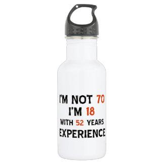 70th birthday designs stainless steel water bottle