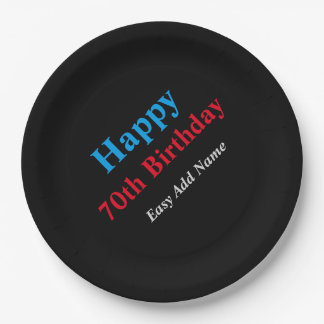 70th Birthday-Easy Add Name Paper Plate