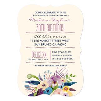 70th Birthday Elegant Bouquet Card